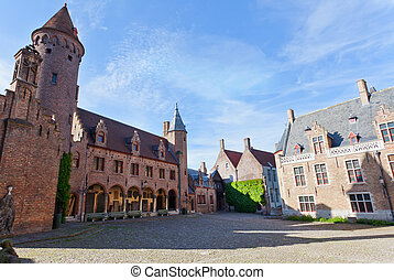 Medieval architecture in the city of Bruges, Belgium