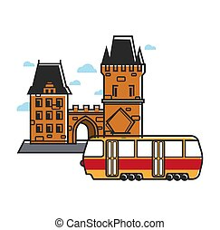 Medieval architecture of yellow brick and retro tram