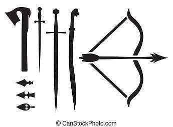 medieval, arma, iconos