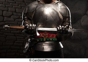 medieval, armadura, caballero, primer plano, espada,...