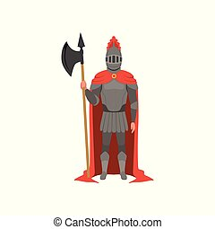 Medieval armed knight character in red mantle standing with axe vector Illustration on a white background