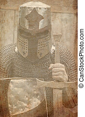 medieval armed knight with sword and shield