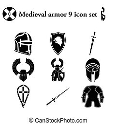 Medieval armor 9 icons set