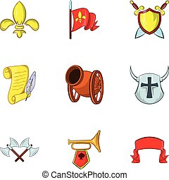 Medieval armor icons set, cartoon style