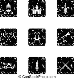 Medieval armor icons set, grunge style