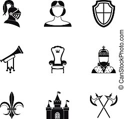 Medieval armor icons set, simple style