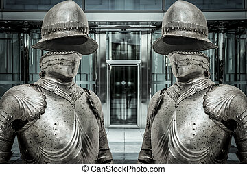 Medieval armor protecting a business building. Concept of...