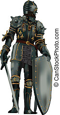 medieval knight with full body armor on black background, vector illustration