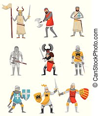 Medieval armored knight set, European warrior characters with weapon vector Illustrations on a white background