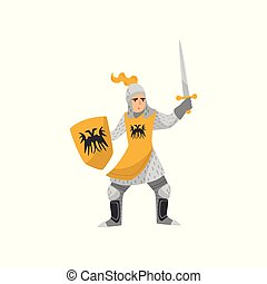 Medieval armored knight warrior character fighting with shield and sword vector Illustration on a white background