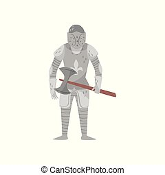 Medieval armored knight warrior character with axe vector Illustration on a white background