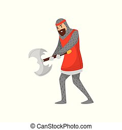 Medieval armored knight warrior character with battle axe vector Illustration on a white background