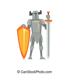 Medieval Armored Knight Warrior Character with Sword and Shield Vector Illustration