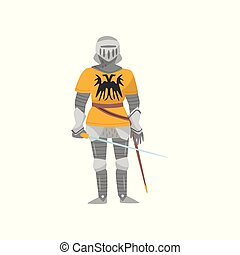 Medieval armored knight warrior character with weapon vector Illustration on a white background