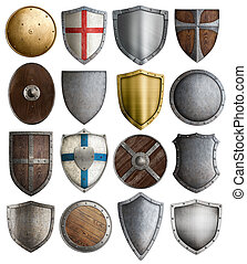 medieval armour and knight shields assortment isolated