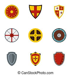 Medieval armour icons set, flat style