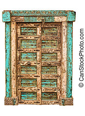 Medieval Asian wooden door isolated on white