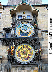 Medieval astronomical clock on the Old Town Square in Prague, Czech Republic