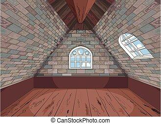 Medieval Attic - Illustration of a medieval attic