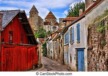 medieval, auxois, vila, torres, pista, pitoresco, en, frança, antigas, semur, borgonha