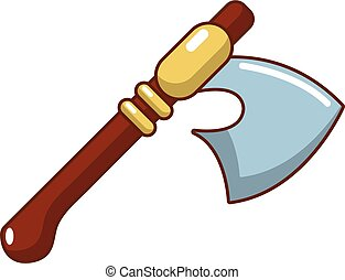 Medieval ax weapon icon, cartoon style