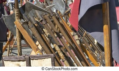 Medieval Axes - Medieval axes and other weapons standing.