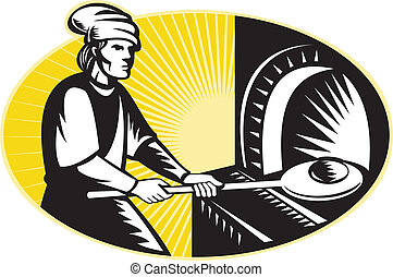 medieval baker baking bread pan oven retro - illustration of...