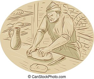 Medieval Baker Kneading Bread Dough Oval Drawing
