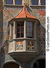 Medieval balcony in Stein am Rhein, Switzerland.
