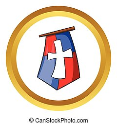 Medieval banner vector icon, cartoon style