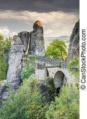 Medieval Bastei Bridge in Saxony