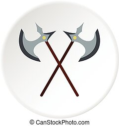 Medieval battle axe icon circle