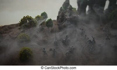 Medieval battle scene with cavalry and infantry. Silhouettes...