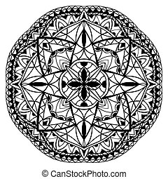 Medieval black and white mandala