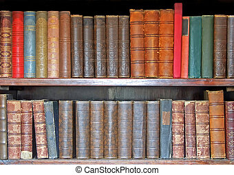 Medieval books - Medieval leather books in two rows closeup