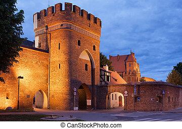 Medieval Bridge Gate and City Wall in Torun