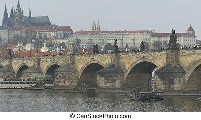 Medieval Bridge over Vltava River in Prague