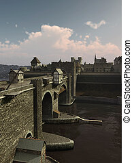 Medieval Bridge to the Old Town - Illustration of an old...