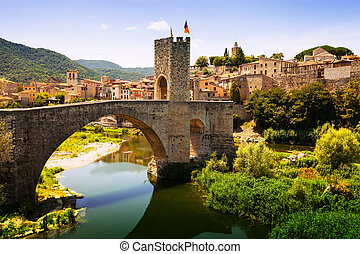Medieval bridge with antique gate, built in the 12th century...