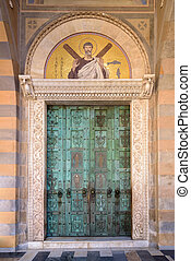 Medieval bronze doors of Cathedral of St. Andrew in Amalfi, Campania, Italy