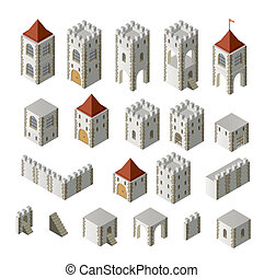 Medieval buildings - A set of isometric medieval buildings...