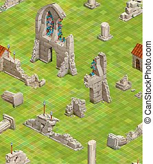 Medieval buildings on green grass, isometric seamless pattern