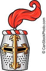 medieval, caballero, casco