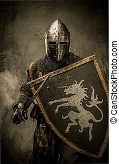 medieval, caballero, con, espada, y, protector, contra,...