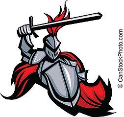 medieval, caballero, con, espada, y, protector, vector,...