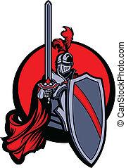 medieval, caballero, con, espada, y, shie