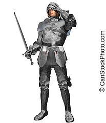medieval, caballero, en, adornado, armadura