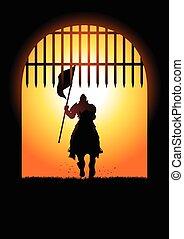 medieval, caballero, entrar, el, puerta