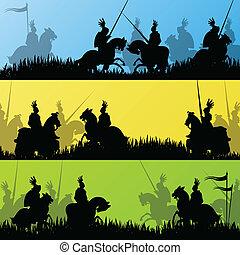 medieval, caballero, ilustración, campo, siluetas, vector,...