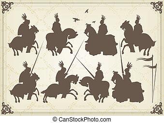 medieval, caballero, jinete, y, vendimia, elementos, vector